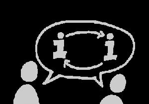 Das Bild zeigt eine Grafik von zwei Figuren, die sich miteinander unterhalten.© Servicestelle Jugendbeteiligung e. V., 2020