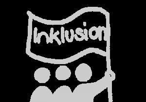 Das Bild zeigt eine Grafik verschiedener Figuren, die eine Fahne mit den Worten Inklusion in die Luft halten © Servicestelle Jugendbeteiligung e. V., 2020
