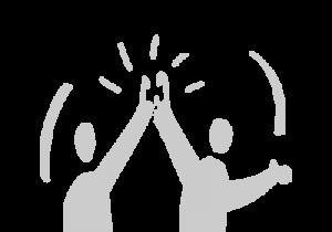 Das Bild zeigt eine Grafik von zwei Figuren, die sich in die Hände klatschen© Servicestelle Jugendbeteiligung e. V., 2020
